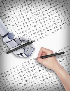 Die Studie vergleicht menschliches und Maschinen-Lernen bei einem weiten Spektrum von visuellen Konzepten bzw. bei ausgewählten Alphabeten. Künstlerische Darstellung von Danqing Wang.